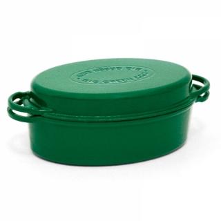 Zelený oválny liatinový pekáč